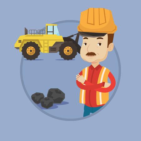 An adult caucasian miner in hard hat standing on the background of excavator. Confident miner with crossed arms standing near coal. Vector flat design illustration in the circle isolated on background