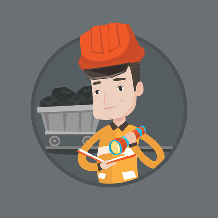 coal mine: Miner checking documents with flashlight on the background of trolley with coal. Mine worker in hard hat. Miner in coal mine. Vector flat design illustration in the circle isolated on background.