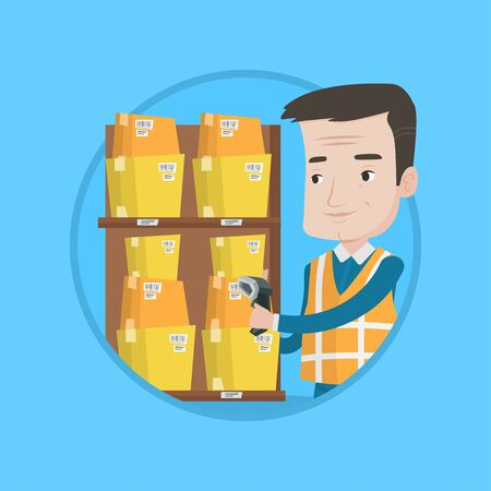 Warehouse worker scanning barcode. Warehouse worker checking barcode of boxes with scanner. Warehouse worker working with scanner. Vector flat design illustration in the circle isolated on background.