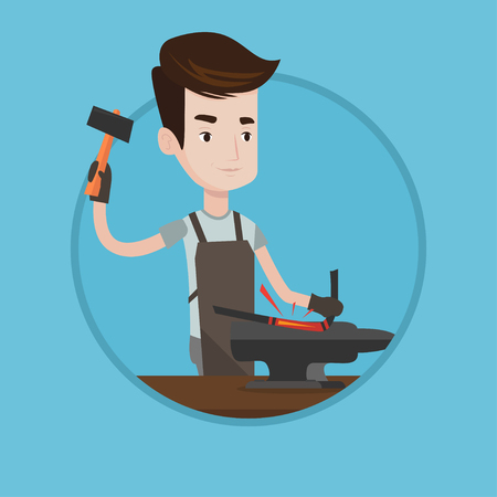 forging: Blacksmith working metal with hammer on the anvil in the forge. Blacksmith at work in smithy. Blacksmith forging metal on anvil. Vector flat design illustration in the circle isolated on background.