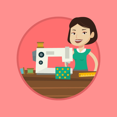 seamstress: Seamstress working in a cloth factory. Seamstress sewing on industrial sewing machine. Seamstress using sewing machine at workshop. Vector flat design illustration in the circle isolated on background