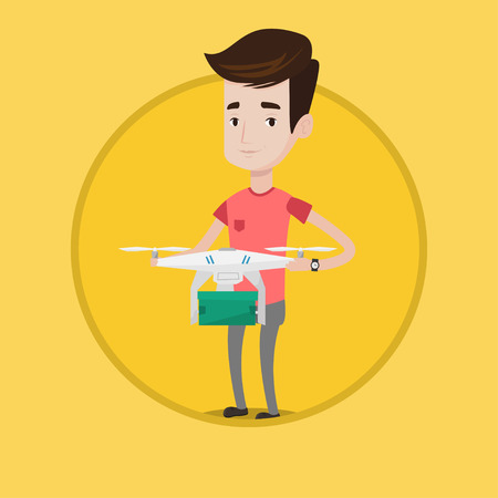 Young man controlling delivery drone with parcel. Man getting parcel from delivery drone. Man sending parcel with delivery drone. Vector flat design illustration in the circle isolated on background. Illustration