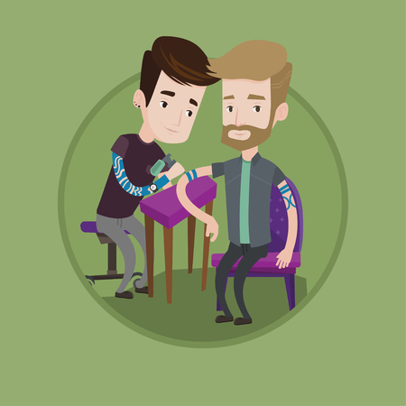 Caucasian tattooist makes tattoo on the hand of young hipster man. Tattooist makes a tattoo. Professional tattoo artist at work. Vector flat design illustration in the circle isolated on background. Illustration
