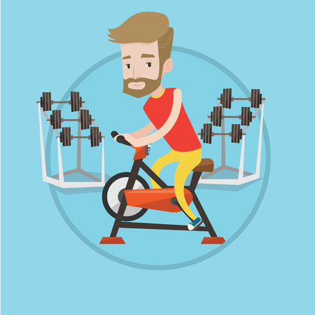 stationary bicycle: Man riding stationary bicycle in the gym. Sporty man exercising on stationary training bicycle. Man training on exercise bicycle. Vector flat design illustration in the circle isolated on background.