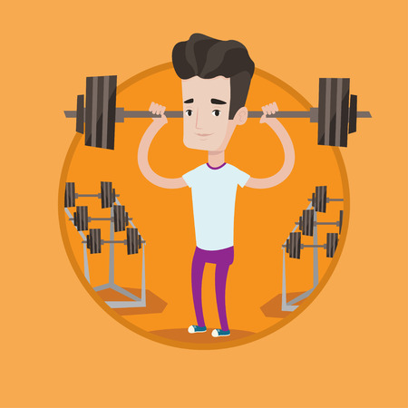 Sporty man lifting a heavy weight barbell. Strong sportsman doing exercise with barbell. Male weightlifter holding a barbell. Vector flat design illustration in the circle isolated on background. Ilustracja
