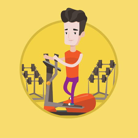 crosstrainer: Caucasian man exercising on elliptical trainer. Man working out on elliptical trainer in the gym. Man using elliptical trainer. Vector flat design illustration in the circle isolated on background.