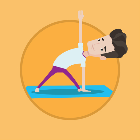 man meditating: Young peaceful man standing in yoga triangle pose. Caucasian man meditating in yoga triangle position. Man doing yoga on mat. Vector flat design illustration in the circle isolated on background.