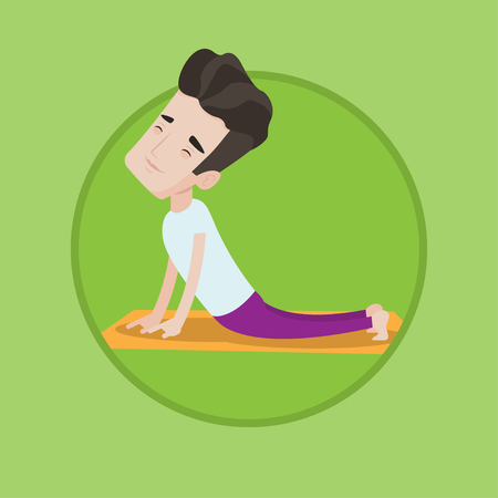 man meditating: Young peaceful man practicing yoga upward dog pose. Caucasian man meditating in yoga upward dog position. Man doing yoga on mat. Vector flat design illustration in the circle isolated on background.