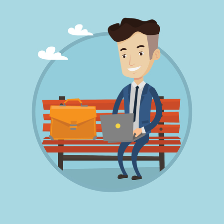 laptop outside: Caucasian businessman working outdoor. Businessman working on a laptop. Businessman in suit sitting on bench and using laptop. Vector flat design illustration in the circle isolated on background Illustration
