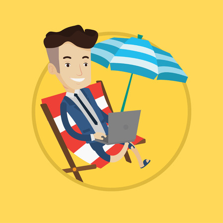 vacation with laptop: Caucasian businessman in suit working on beach. Businessman sitting in chaise lounge under beach umbrella and working on a laptop. Vector flat design illustration in the circle isolated on background. Illustration