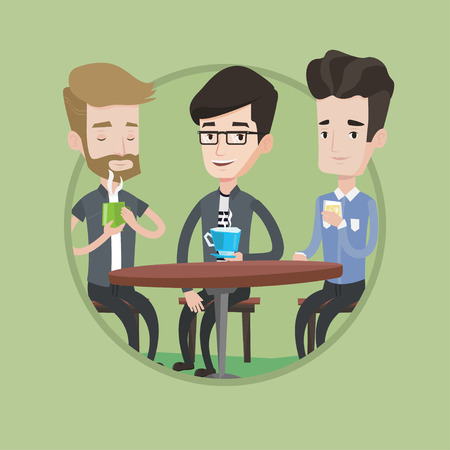 hanging out: Group of young friends drinking hot and alcoholic drinks in cafe. Three friends hanging out together in a cafe. Friendship concept. Vector flat design illustration in the circle isolated on background