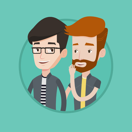 Hipster caucasian man shielding his mouth and whispering a gossip to his friend. Men sharing gossips. Friends discussing gossips. Vector flat design illustration in the circle isolated on background.