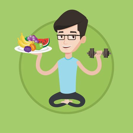 Caucasian healthy sportsman sitting with fruits and dumbbell. Young man choosing healthy lifestyle. Healthy lifestyle concept. Vector flat design illustration in the circle isolated on background. Illustration