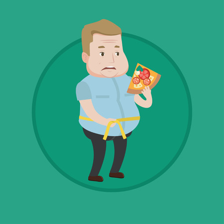 Caucasian man with slice of pizza measuring waistline with tape. Overweight man measuring with tape the abdomen and eating pizza. Vector flat design illustration in the circle isolated on background.