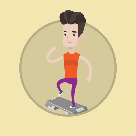 Man doing step exercises. Man training with stepper in the gym. Man working out with stepper. Sportsman standing on stepper. Vector flat design illustration in the circle isolated on background. Иллюстрация