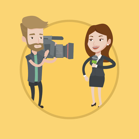 Professional caucasian female reporter with microphone presenting the news. Young hipster operator with beard filming reporter. Vector flat design illustration in the circle isolated on background.