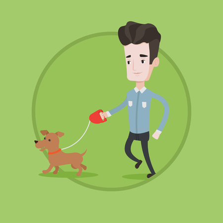 Young man with his dog. Happy man taking dog on walk. Caucasian man walking with his small dog. Smiling guy walking a pet on leash. Vector flat design illustration in the circle isolated on background