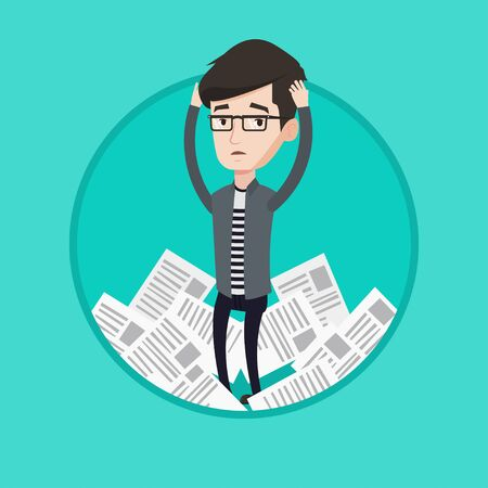 overwhelmed: Businessman having a lot of paperwork. Businessman surrounded by lots of papers. Businessman standing in the heap of papers. Vector flat design illustration in the circle isolated on background.