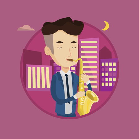 Musician playing on saxophone. Man with his eyes closed playing on saxophone in the night. Man with saxophone in the city street. Vector flat design illustration in the circle isolated on background. Illustration