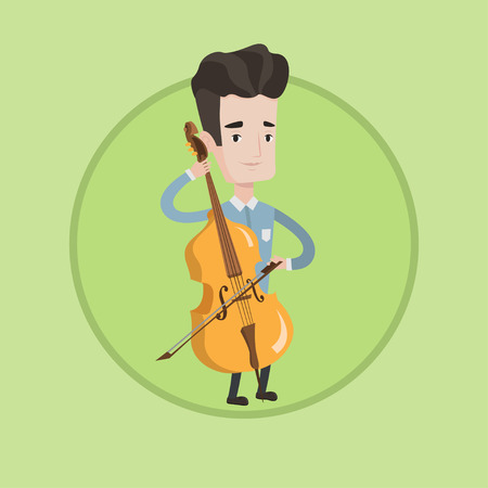 cellist: Young happy caucasian musician playing cello. Cellist playing classical music on cello. Young smiling musician with cello and bow. Vector flat design illustration in the circle isolated on background.
