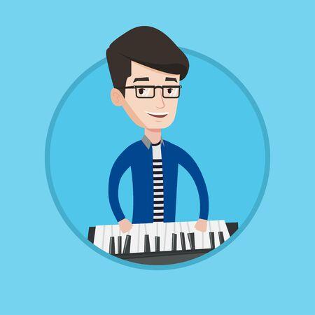pianista: sonriente joven músico tocando el piano. Pianista tocando piano vertical. pianista de sexo masculino caucásico que juega en el sintetizador. Vector ilustración de diseño plano en el círculo aislado en el fondo.