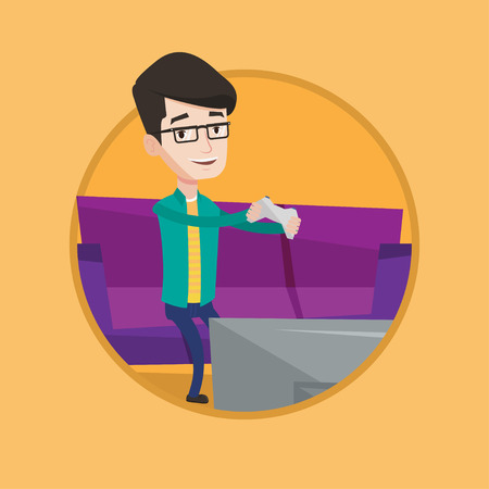 game console: Happy caucasian man playing video game on the television. Excited young man with game console in hands playing video game at home. Vector flat design illustration in the circle isolated on background.
