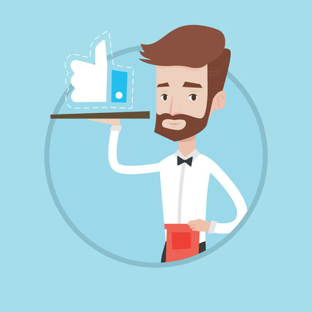 A hipster waiter with the beard carrying tray with like button. Caucasian young waiter holding restaurant tray with like button. Vector flat design illustration in the circle isolated on background.
