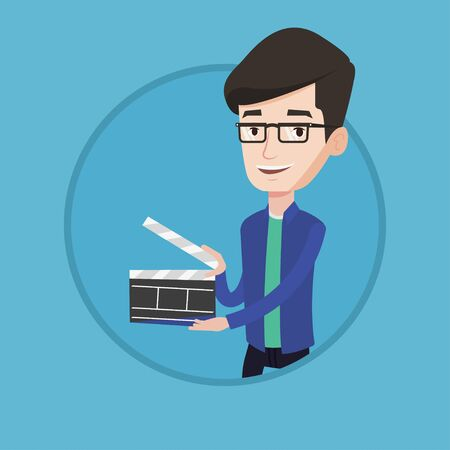 cinematographer: Happy smiling caucasian man holding an open clapperboard for the filming. Cheerful man holding blank movie clapperboard. Vector flat design illustration in the circle isolated on background.
