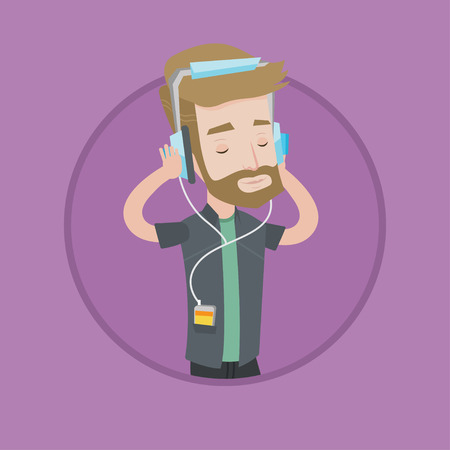 relaxed man: Man listening to music on smartphone. Caucasian man in headphones listening to music. Relaxed man with eyes closed enjoying music. Vector flat design illustration in the circle isolated on background. Illustration