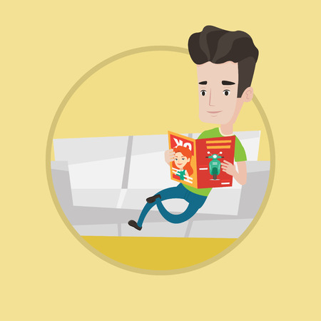 news reader: Young caucasian man reading a magazine. Man sitting on sofa and reading magazine. Man sitting on the couch with magazine in hands. Vector flat design illustration in the circle isolated on background.