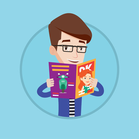 reading news: Caucasian man reading a magazine. Man standing with magazine in hands. Guy holding a magazine. Happy man reading news in journal. Vector flat design illustration in the circle isolated on background. Illustration