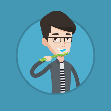 Young caucasian man brushing his teeth. Smiling man cleaning teeth. Guy taking care of her teeth. Man with toothbrush in hand. Vector flat design illustration in the circle isolated on background. Ilustração