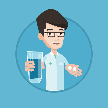Young pharmacist holding in hands a glass of water and pills. Pharmacist in medical gown giving pills. Concept of health care. Vector flat design illustration in the circle isolated on background.