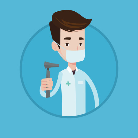 Ear nose throat doctor holding medical tool. Doctor in medical gown and mask with tools used for examination of ear, nose, throat. Vector flat design illustration in the circle isolated on background. Illustration