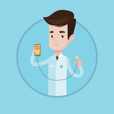 checking: Young caucasian doctor holding smartphone with application for measuring heart rate pulse. Doctor showing app for checking heart. Vector flat design illustration in the circle isolated on background. Illustration