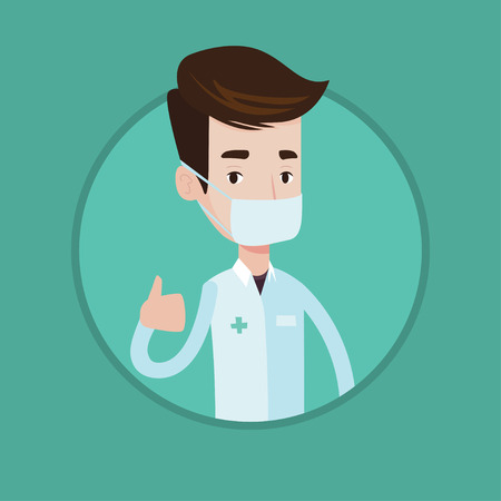 protective gown: Caucasian doctor in mask giving thumbs up. Doctor in medical gown showing thumbs up gesture. Doctor with gesture thumb up. Vector flat design illustration in the circle isolated on background. Illustration
