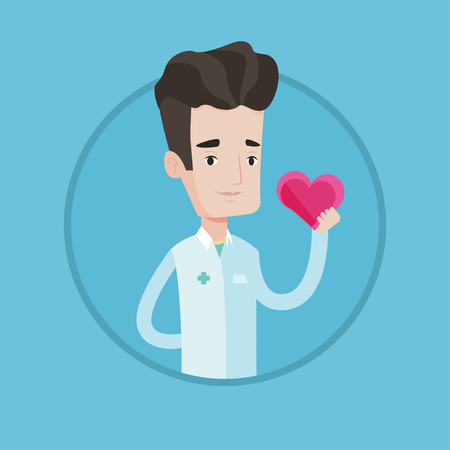 heart problems: Cardiologist in doctor uniform with heart in hand. Doctor cardiologist holding heart. Concept of prevention of heart problems. Vector flat design illustration in the circle isolated on background.