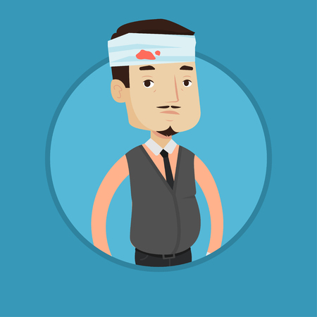 An adult man with bandages over his head. Sad injured man with a bandaged head. Caucasian man with wound in head. Vector flat design illustration in the circle isolated on background.