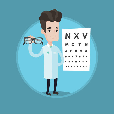 ophthalmologist: Ophthalmologist giving glasses. Ophthalmologist holding eyeglasses on the background of eye chart. Ophthalmologist offering glasses. Vector flat design illustration in circle isolated on background.