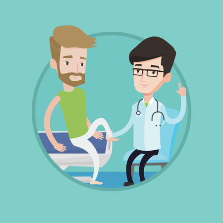 Physiotherapist checking ankle of a man. Physiotherapist examining leg of sportsman. Physiotherapist giving leg massage to patient. Vector flat design illustration in the circle isolated on background Illustration