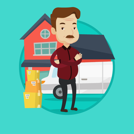 unpacking: An adult homeowner standing in front of new home. Caucasian homeowner unloading cardboard boxes. Homeowner unpacking removal truck. Vector flat design illustration in the circle isolated on background