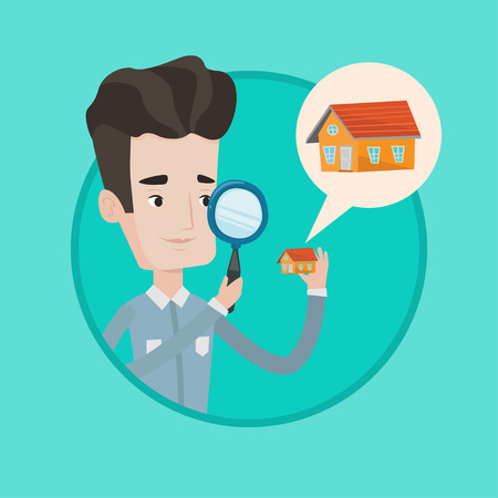 house for sale: Caucasian man looking for a new house in real estate market. Man using magnifying glass for seeking a house in real estate market. Vector flat design illustration in the circle isolated on background.