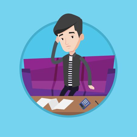 paying: Unhappy caucasian man calculating home bills. Sad man sitting on sofa and accounting costs and mortgage for paying home bills. Vector flat design illustration in the circle isolated on background.