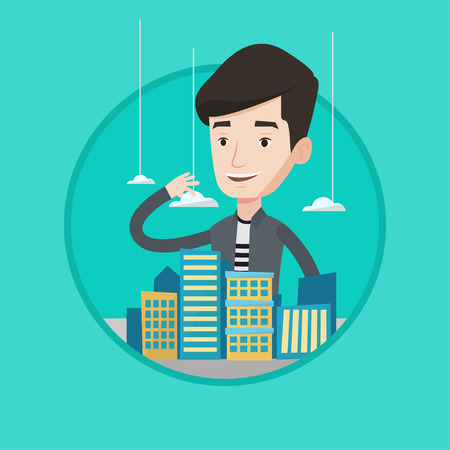 sales manager: Sales manager presenting a model of city with clouds. Sales manager working with a project of a new modern district of the city. Vector flat design illustration in the circle isolated on background.