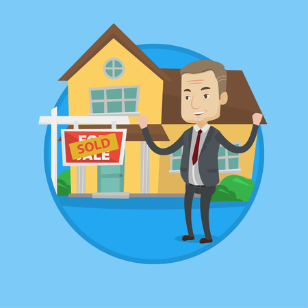 Happy caucasian real estate agent standing in front of sold real estate placard and house. Successful real estate agent sold a house. Vector flat design illustration in circle isolated on background.