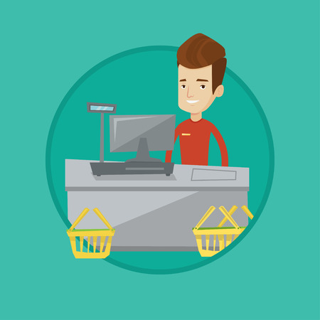 Young cashier standing at the checkout in supermarket. Happy cashier working at checkout. Cashier standing near the cash register. Vector flat design illustration in the circle isolated on background.