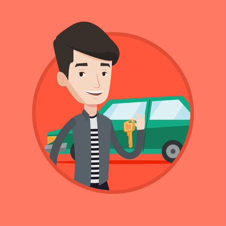 car driver: Young caucasian man holding keys to his new car. Happy man showing key to his new car. Man standing on the backgrond of new car. Vector flat design illustration in the circle isolated on background.