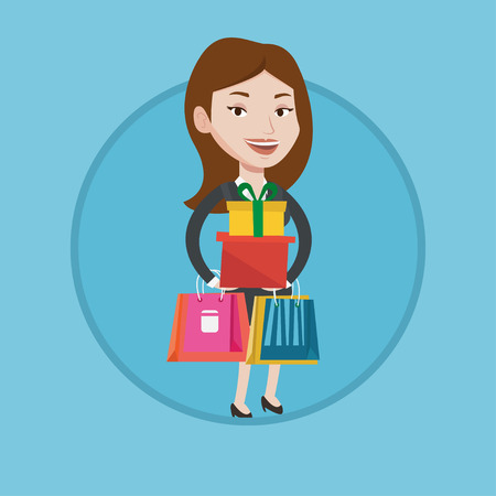 Woman holding shopping bags and gift boxes. Woman carrying shopping bags and boxes. Girl standing with a lot of shopping bags. Vector flat design illustration in the circle isolated on background. Illustration