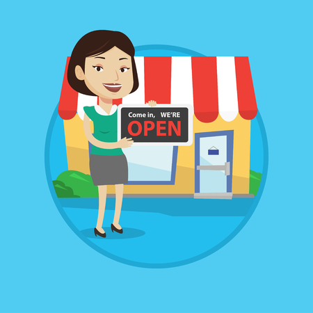 Shop owner holding open signboard. Cheerful shop owner standing with open signboard. Woman inviting to come in her open shop. Vector flat design illustration in the circle isolated on background. Illustration