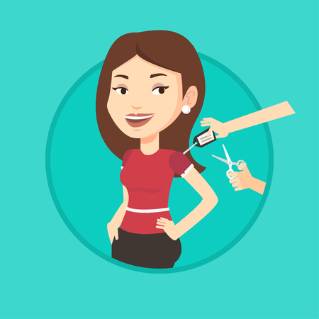 removing: Woman removing price tag off new t-shirt. Woman cutting price tag off new clothes with scissors. Woman shopping at clothes store. Vector flat design illustration in the circle isolated on background. Illustration
